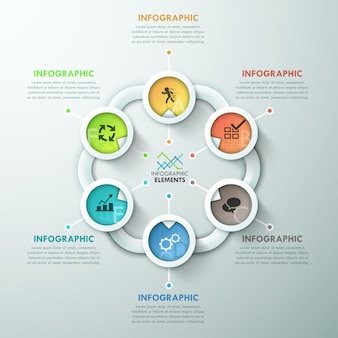 Ciclo de papel moderno infográfico