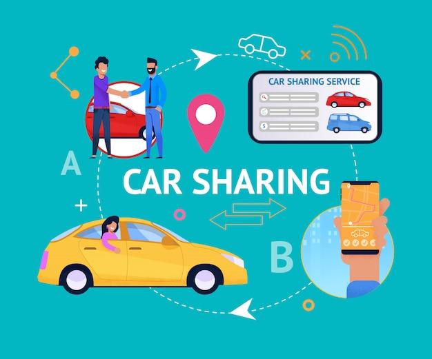 Ciclo de serviço de compartilhamento de carro.