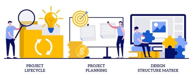 Ciclo de vida e planejamento do projeto, conceito de matriz de estrutura de design com pessoas minúsculas. conjunto de caso de negócios. análise de negócios, representação visual.