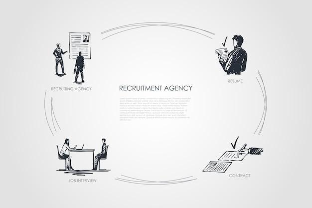 Ciclo desenhado à mão de agência de recrutamento