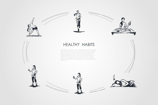 Ciclo desenhado à mão de hábitos saudáveis