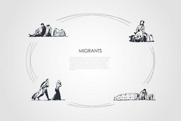Ciclo desenhado à mão de migrantes