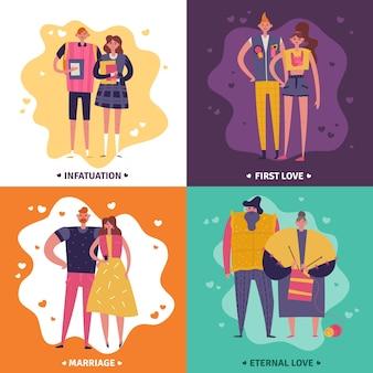 Ciclos de vida de homem e mulher conjunto de conceito de design de paixão, primeiro amor, casamento e amor eterno, ícones quadrados