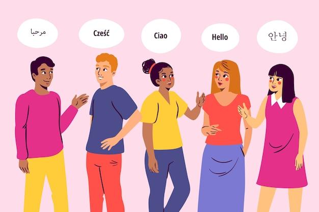 Cidadãos multiculturais falando em diferentes idiomas