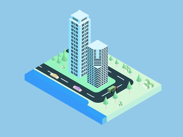 Cidade 3d isométrica, apartamento, escritório e ruas com movimento de tráfego urbano do carro.