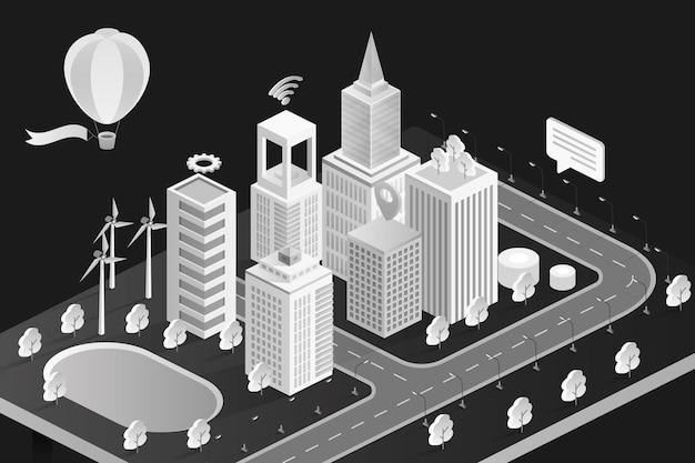 Cidade 3d isométrica em preto e branco com modernos edifícios de escritórios de hotéis de bancos e apartamentos em casas geminadas
