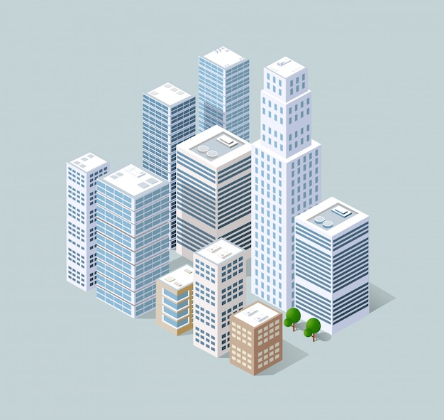Cidade 3d isométrica tridimensional