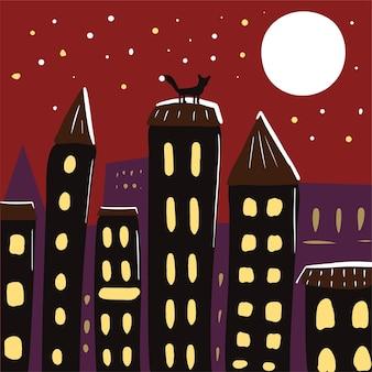 Cidade à noite com telhados de casas e a lua em estilo cartoon. ilustração em vetor mão desenhada
