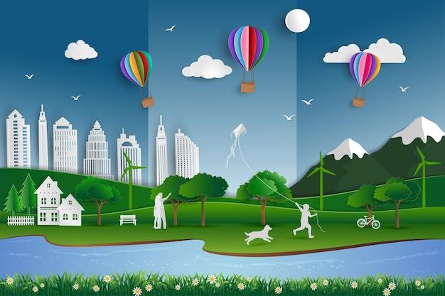 Cidade amiga da ecologia com família feliz