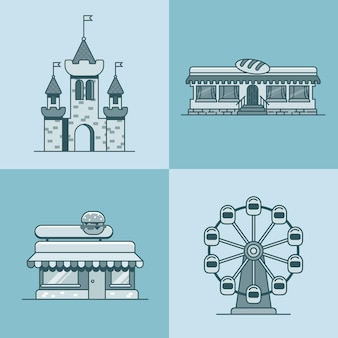 Cidade arquitetura cidade castelo roda gigante padaria fast food restaurante café conjunto