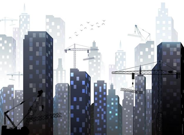 Cidade canteiro de obras com edifícios e guindastes