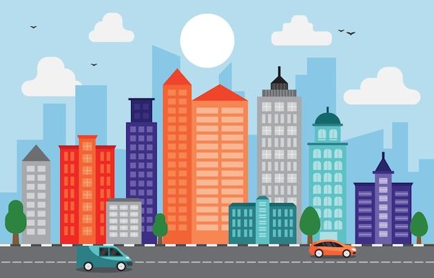 Cidade cityscape skyline marco construção tráfego street