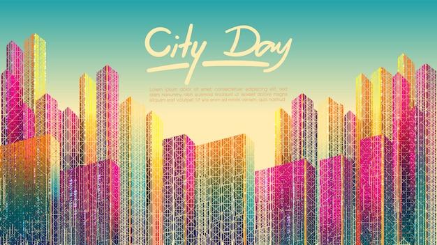 Cidade colorida no fundo durante o dia com o modelo de texto