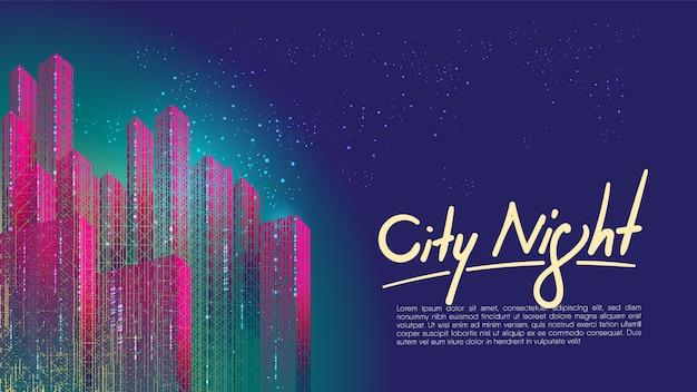 Cidade colorida no fundo noturno com modelo de texto