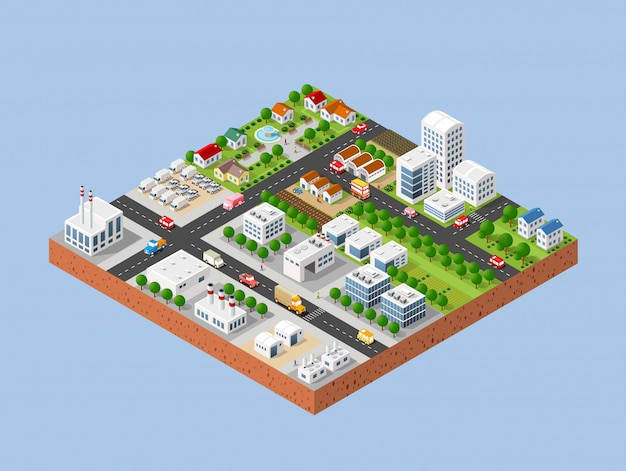 Cidade com casas 3d cidade tridimensional