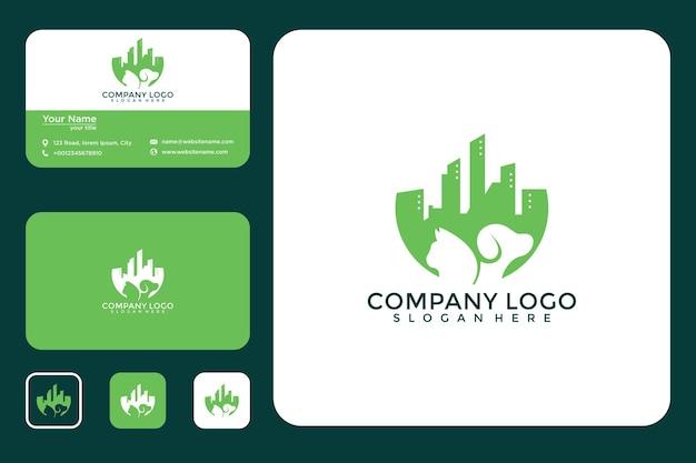 Cidade com design de logotipo de animais e cartão de visita