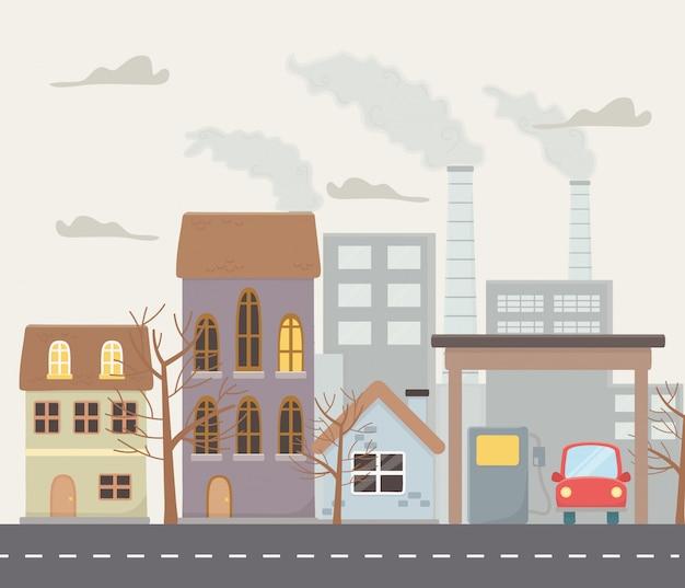 Cidade com design de poluição e fumaça