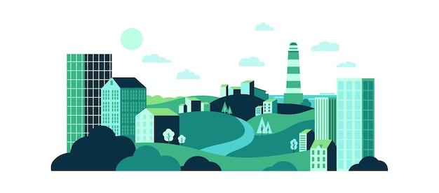 Cidade com natureza selvagem e edifícios de vidro urbanos.