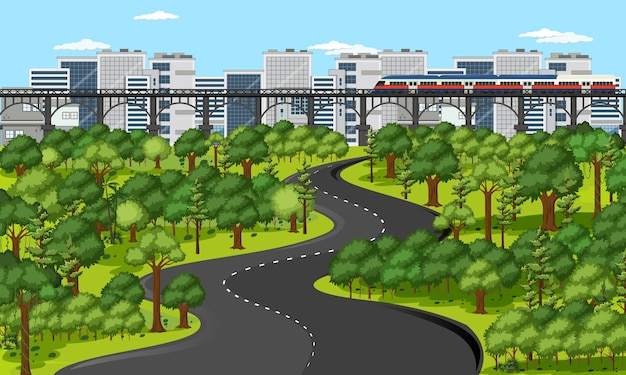 Cidade com paisagem de parque natural Vetor grátis