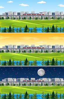 Cidade com paisagem natural em diferentes momentos do dia Vetor grátis
