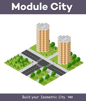 Cidade conjunto trimestre vista superior paisagem 3d isométrica projeção