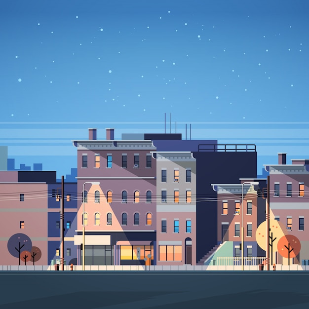 Cidade construção casas visão noturna horizonte plano de fundo