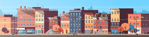Cidade construção casas vista horizonte banner