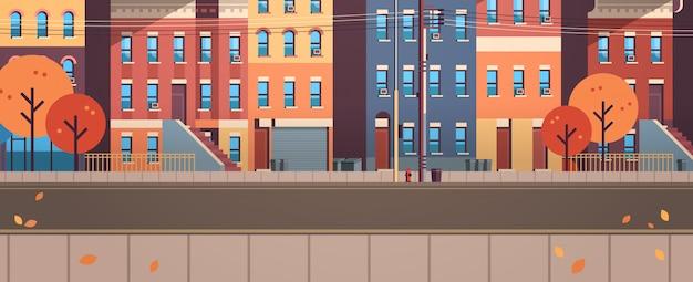Cidade construção casas vista outono rua folhas queda imóveis apartamento horizontal
