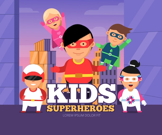 Cidade crianças heróis. paisagem urbana com super-heróis masculinos e femininos para crianças em máscaras de personagens de desenhos animados