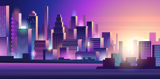 Cidade cyberpunk. brilho de néon que ilumina a paisagem urbana roxa colorida escura de fundo futurista da cidade. edifício cyberpunk, ilustração futurística da torre da cidade