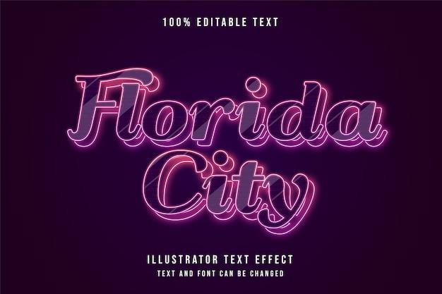Cidade da flórida, efeito de texto editável em 3d gradação vermelha e efeito de camadas de neon azul