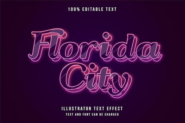 Cidade da flórida, efeito de texto editável em 3d gradação vermelha e efeito de camadas de néon azul