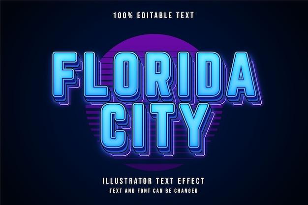 Cidade da flórida, estilo de texto editável em 3d com efeito de texto em gradação azul e sombra de néon roxo