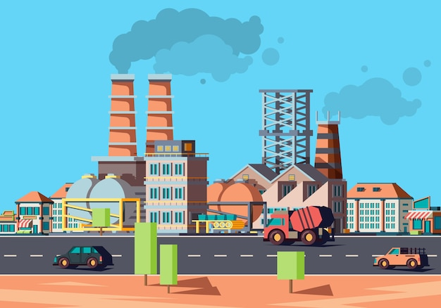 Cidade da indústria. edifícios da fábrica na paisagem plana fachada urbana de casas