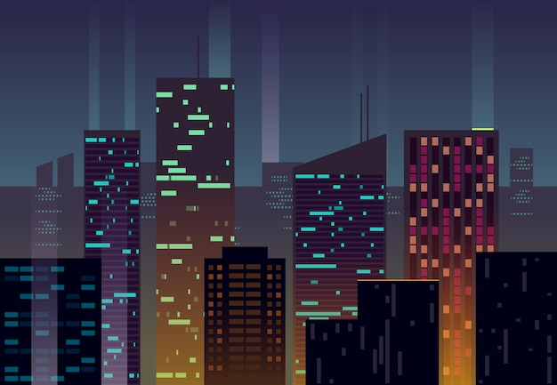 Cidade da noite, edifícios com janelas brilhantes ao entardecer urbano fundo