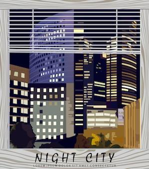 Cidade da noite ilustração do centro de negócios
