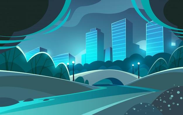 Cidade da noite. parque calmo e bonito com rio e ponte. paisagem urbana. panorama.
