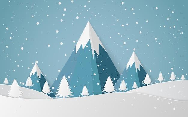 Cidade da paisagem da neve do inverno ano novo feliz e feliz natal, arte de papel e estilo do ofício.