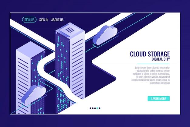 Cidade de dados urbanos, conceito de armazenamento em nuvem, rack de sala de servidores, data center, banco de dados