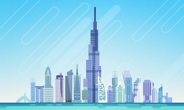 Cidade de dubai arranha-céu vista cityscape skyline