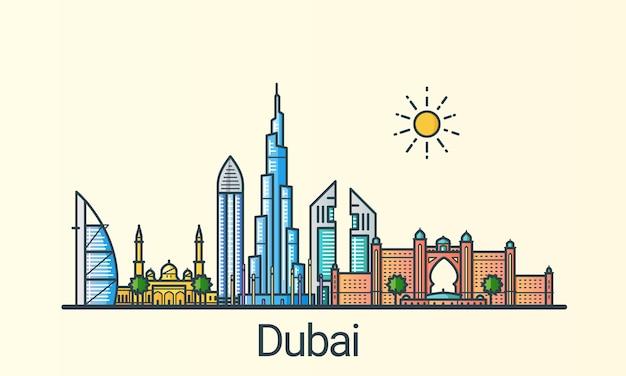 Cidade de dubai em estilo moderno de linha plana