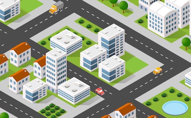Cidade de ilustração 3d isométrica urbana