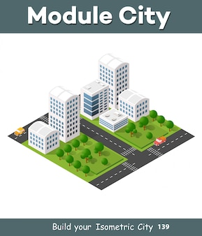 Cidade de ilustração 3d isométrica