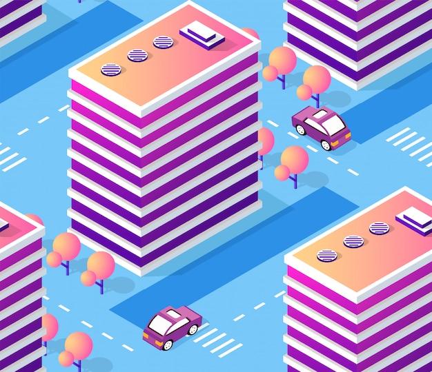 Cidade de ilustração de arquitetura para repetir sem costura