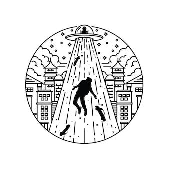 Cidade de invasão alienígena ilustração gráfica