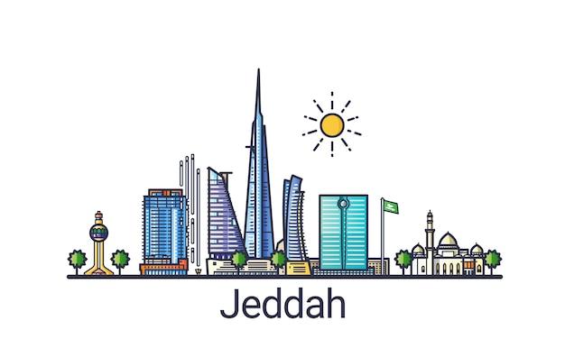 Cidade de jeddah em linha plana de estilo moderno