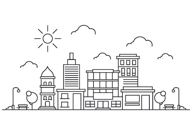 Cidade de linha de ilustração vetorial