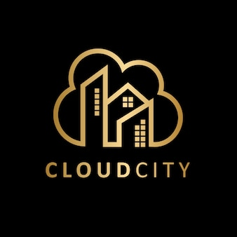 Cidade de luxo nuvem imóveis logotipo