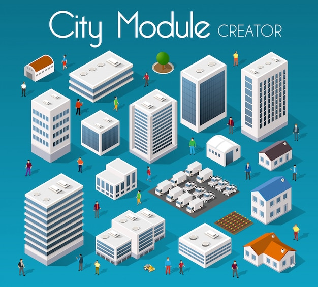 Cidade de módulo conjunto isométrico
