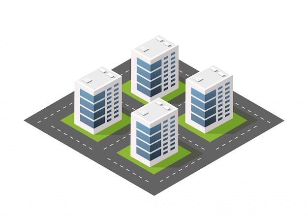 Cidade de módulo isométrico da arquitetura do edifício urbano.